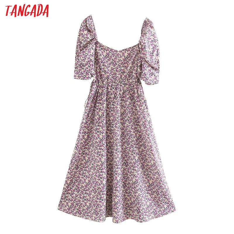 Tangada 2020 Women Purple Flowers Print Waist Hole Dress Puff Short Sleeve Ladies 70s Midi Dress 5Z186