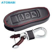 עור רכב מפתח מקרה עבור פורשה קאיין 911 996 Panamera Macan Boxster 986 987 981 3 לחצנים חכם מרחוק Fob מגן כיסוי