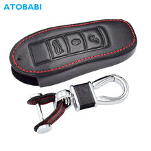 Capa de couro para chave de carro porsche cayenne 911 996 panamera macan boxster 986 987 981 3 botões controle remoto inteligente capa protetora