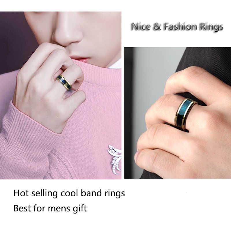 ELSEMODE ไทเทเนียมการวัดอุณหภูมิแหวนผู้หญิง Mens Cool แหวน Anel Masculino Lover ของขวัญ