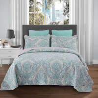All Season Lightweight Filling 100%Cotton Green Paisley Print 3Pcs Quilt Coverlet Bedspread with Match Pillow shams Bed Cover