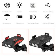 Waterproof USB Rechargeable Cycling Front Light Headlight Bicycle Mobile Phone Holder Bracket Lamp 4000mAh цена и фото