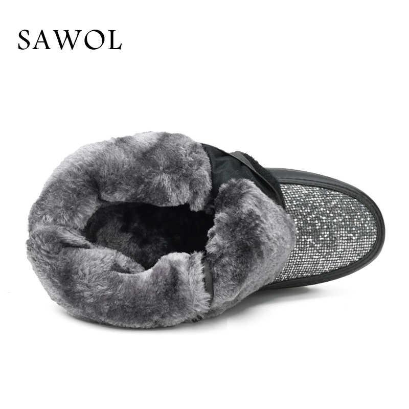 Kadın kış ayakkabı büyük boy yüksek kaliteli marka kadın ayakkabı peluş ve yün sıcak kadınlar kış çizmeler orta buzağı çizmeler Sawol