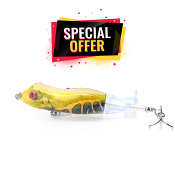 90mm 11g Lifelike Frog Popper Lure Topwater Rotatable Tail (Limited)