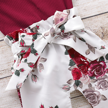 Pudcoco Newborn Baby Girl Clothes Knitting Cotton Long Sleeve Romper Tops Flower Print Long Pants Headband 3Pcs Outfits Clothes 5