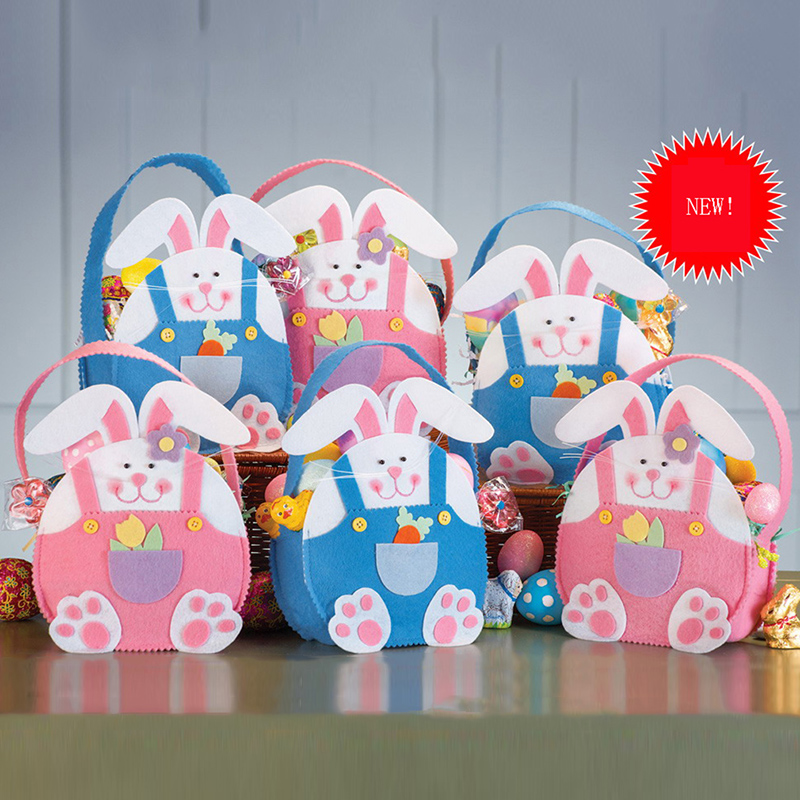 Blue Pink Cute Bunny Easter Gift Bags Basket Easte Party Accessories Child Candy Bag Good Quality Cloth Kids Gift
