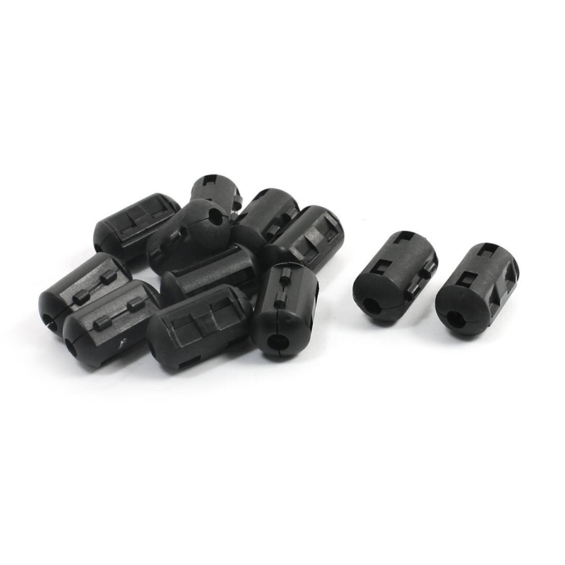 Cable de alimentación cilíndrico supresor EMI de ferrita Filtro de núcleo de 6mm 12 Uds 5 uds 3,5 MM Clip de plástico negro en EMI RFI Cable supresor de ruido ferrita núcleo filtros extraíbles