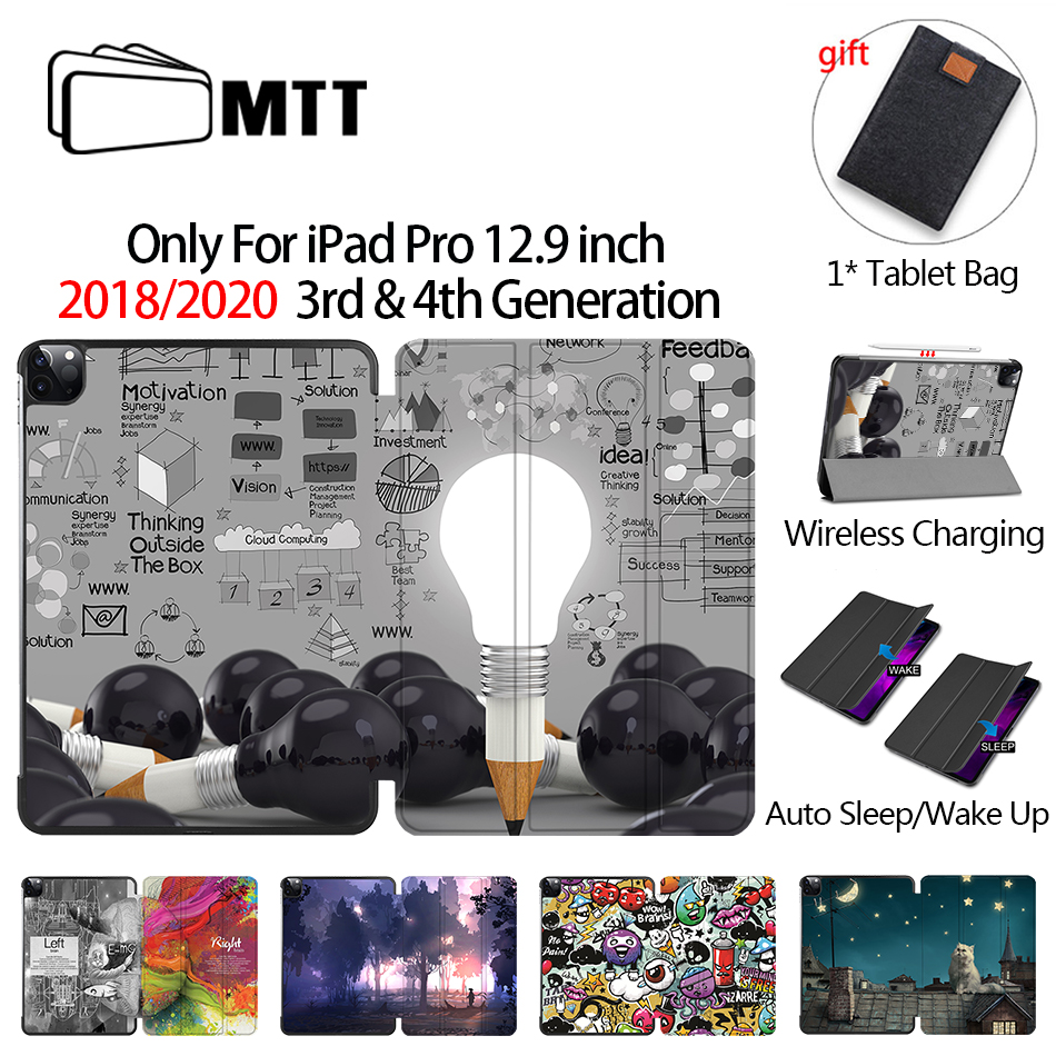 MTT 2020 Case For iPad Pro 12 9 3rd 4th Generation 2018 PU Leather Flip Stand