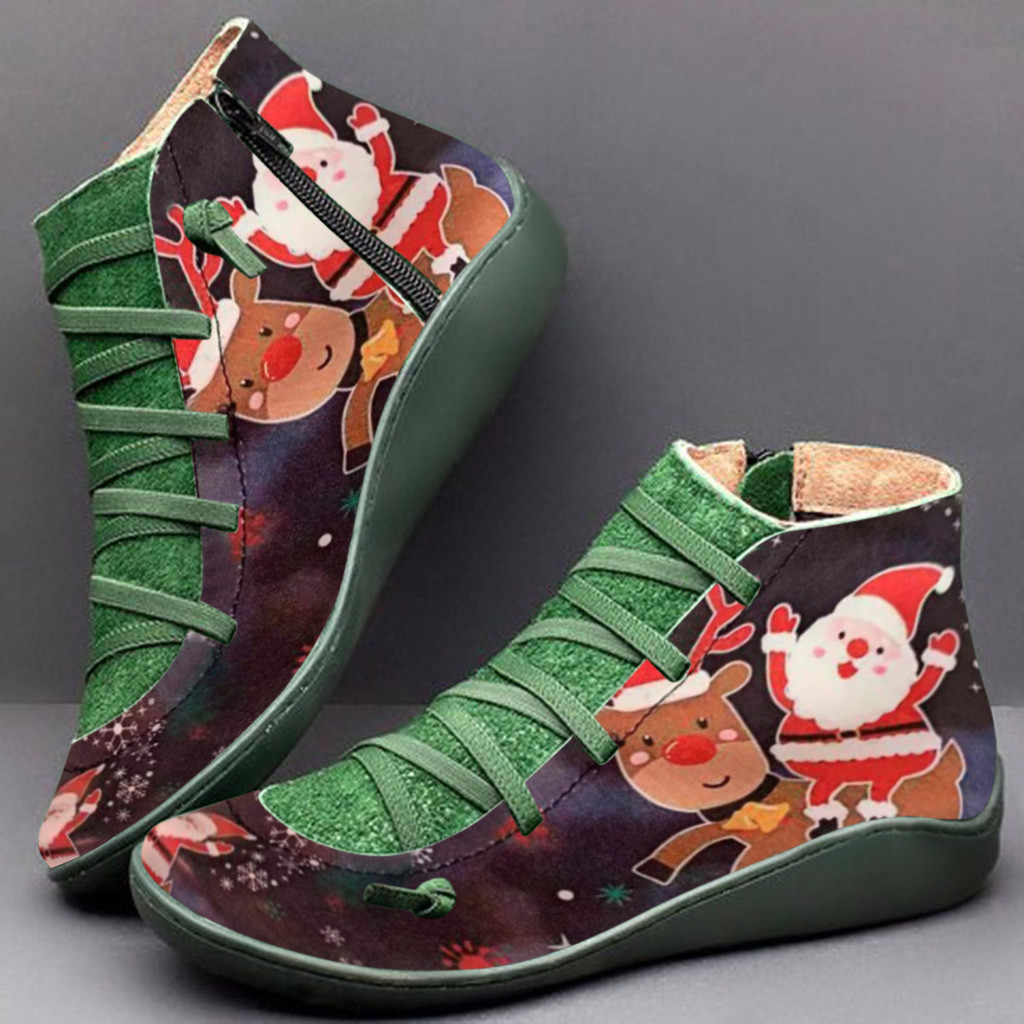 Christmas Boots For Women Santa Claus ELK Printed Ladies Shoes Women Booties Female Round Toe Boots Botas Mujer Invierno 2020