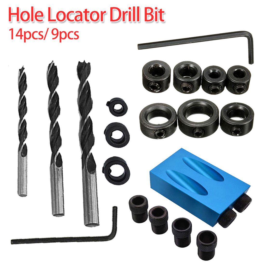 15 Degree 14pcs/ 9pcs Drilling Holes Guide Oblique Hole Locator Positioner Drilling Bits Jig Clamp Woodworking Kit