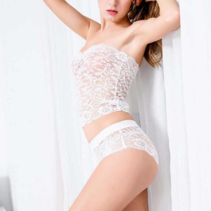 2019 New Fashion White Women Bra Sets Ladies Sexy Lace Bikini Set Tube Top Strapless Bra With Underwear Swimsuit Sleepcoat