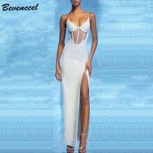 Bevenccel, новинка, белое платье макси, для женщин,, v-образный вырез, на бретелях, сетка, пэчворк, с разрезом, облегающее, вечерние, элегантное, Бандажное платье