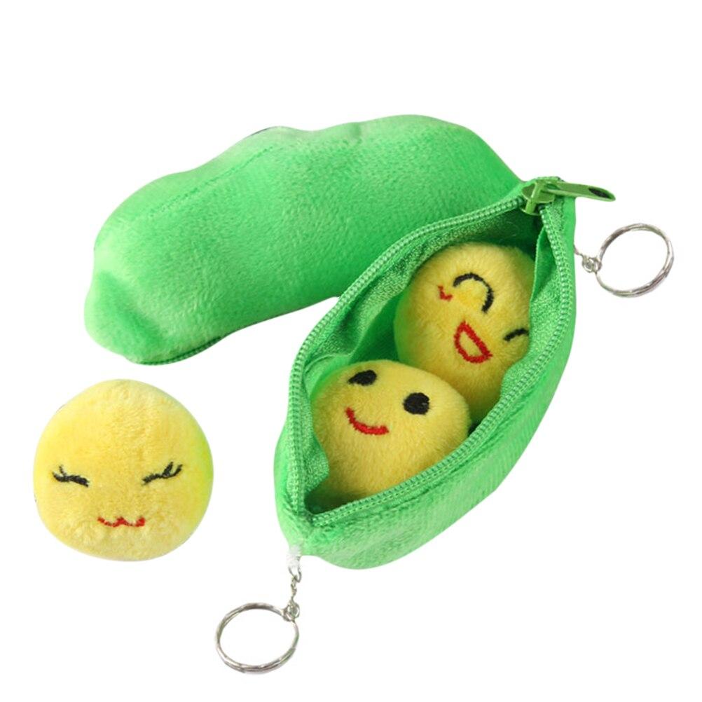 Creative Cute Pod Pea Shape Stuffed Plant Doll Soft 3 Beans with Cloth Case 25cm