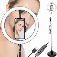 Stretchable Led Ring Light With Stand Live Fill Light Lamp Floor Led Ring Lighting Lamp Anchor Beauty Face Mobile Phone Stand sl 107 mobile phone live fill light external beauty lighting table lamp anchor led self timer lamp adjustable charging flash