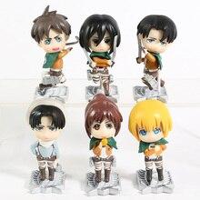 Attack on Titan Eren Mikasa Armin Rivaille Cute Mini PVC Figures Toys Dolls 6pcs/set