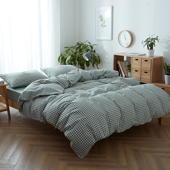 Nordic Japanese style 3/4pc washed cotton solid color plaid плед bedding set twin/full/queen/king size free shipping A
