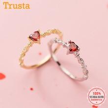 Finger-Ring S925 Jewelry 925-Sterling-Silver Red-Heart Women Lovely Sweet Real Trustdavis