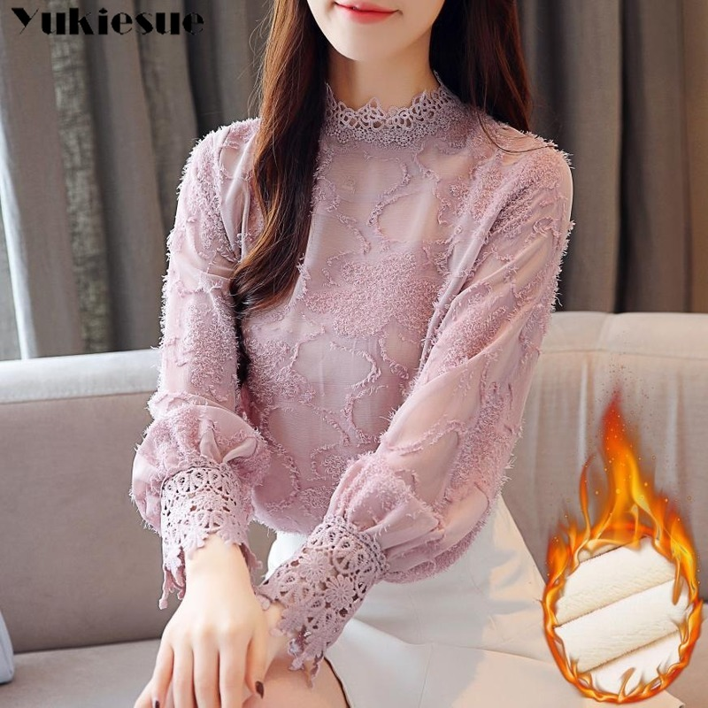 Fashion Woman Blouses 2019 Winter Thick Lace Chiffon Blouse Shirt Plus Size Women Tops Long Sleeve Blouse Wome Shirts Blusas
