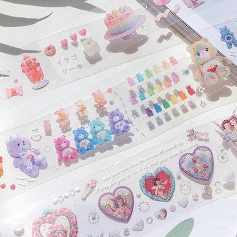 Secret Courtyard Series Journal Washi Tape DIY Scrapbooking Sticker Label Kawaii Bear Cake PET Masking Tape School Office Supply