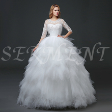 Simple Tassel Wedding Dress Three Quarter Lace Floor-lenght Ball Gown Up Off The Shoulder Empire Design