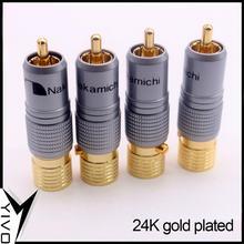 8 шт. YIVO XSSH Hi end HIFI DIY Латунь 62% медное покрытие 24K золото штекер аудио видео RCA разъем Вилки разъем