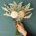 Новые белые искусственный цветок шелка высокого качества, принт в виде одуванчиков, эвкалипта Гибридный Букет Свадебные украшения для дома...