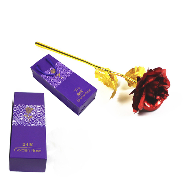 24K Plated Rose Flower Valentines Day Gift Birthday Romantic High Quality 2