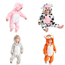 цена на Newborn baby flannel animal pajamas baby winter warm thick clothes 4-24 months baby animal one-piece pajamas christmas clothes