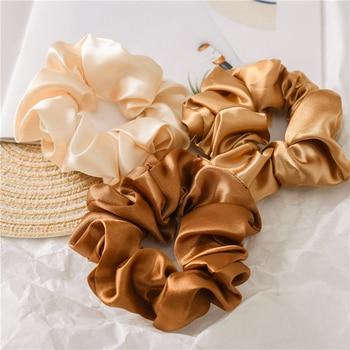Women Silk Scrunchie Elastic Handmade Multicolor Hair Band Ponytail Holder Headband Hair Accessories 1PC Satin Silk Solid Color