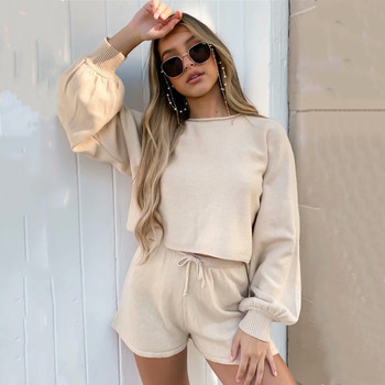 2PCS Women Sports Outfits Casual Solid Color Loose Sweater Top with Elastic Tie Running Shorts Set, Home Comfortable Sportswear image