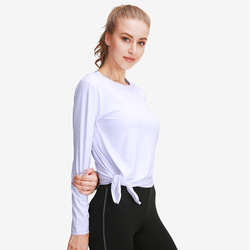 Tops Women Yoga Long Sleeve Shirts Sexy Tight Solid Backless Workout Round Neck Sports Tops Fitness Wear workout shirt