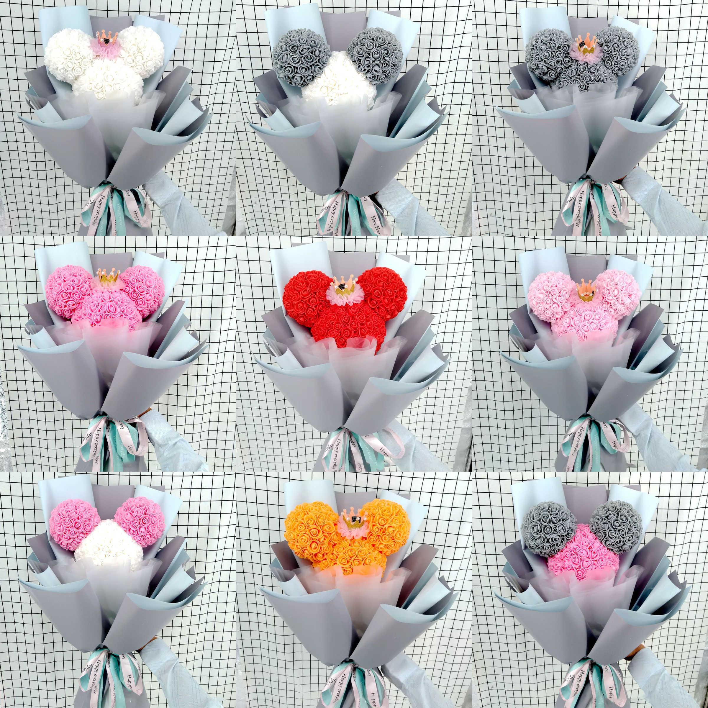 Decoración de boda regalo del Día de San Valentín espuma de poliestireno Oso Blanco Flor de jabón Mickey cabeza para decoración de fiesta DIY