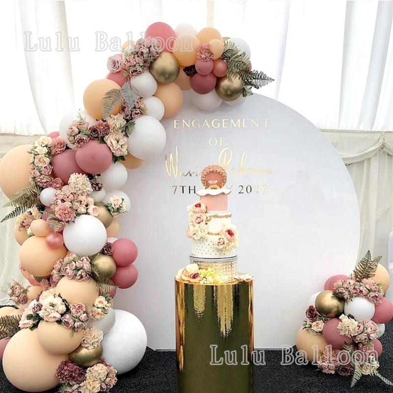 105/140 pçs arco & guirlanda kit branco bege do vintage rosa balões para festa de aniversário casamento chá de fraldas