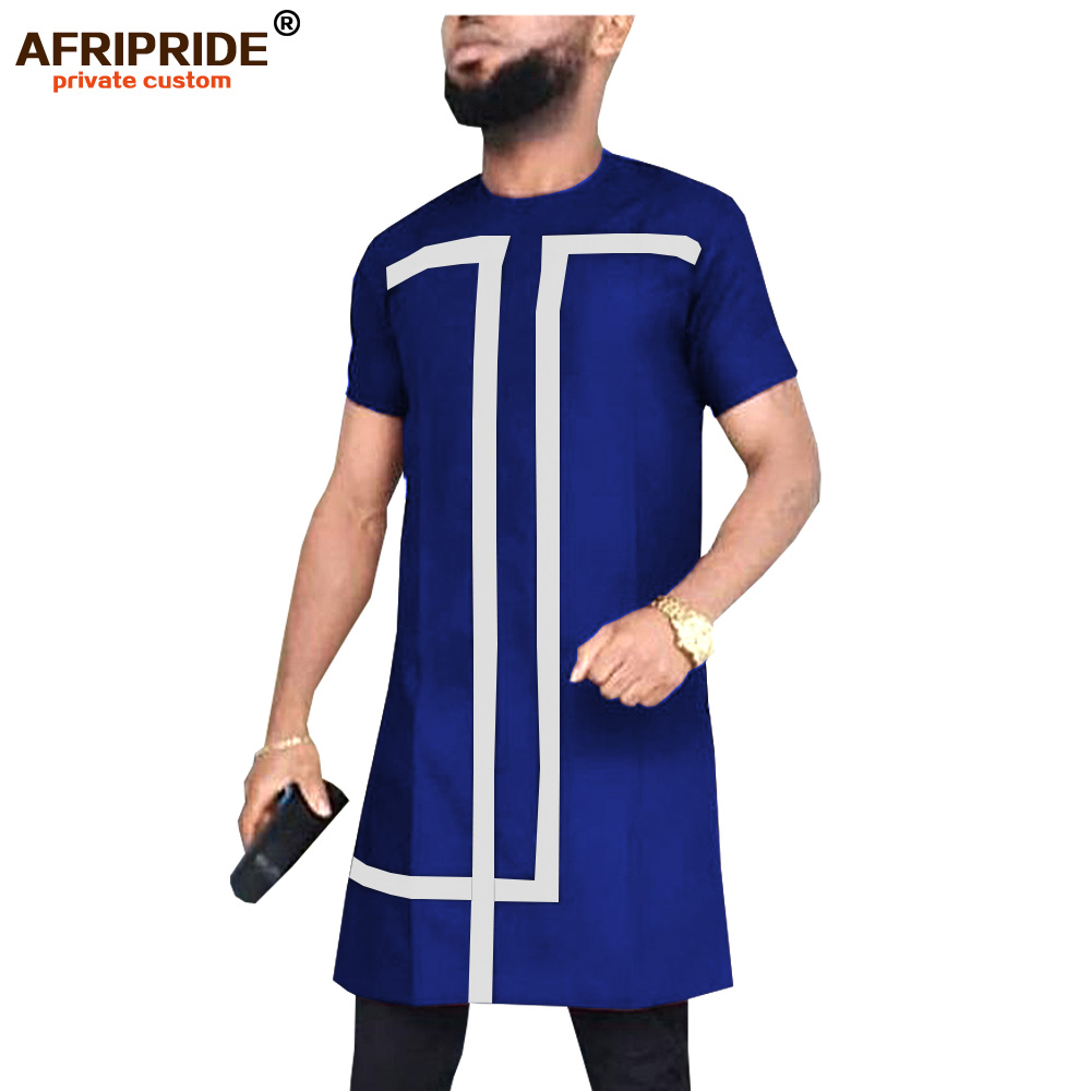 2019 African Dashiki Shirts for Men Short Sleeve Tops Long Shirt Tribal Blouse Slim Fit Traditional Wear AFRIPRIDE A1912011