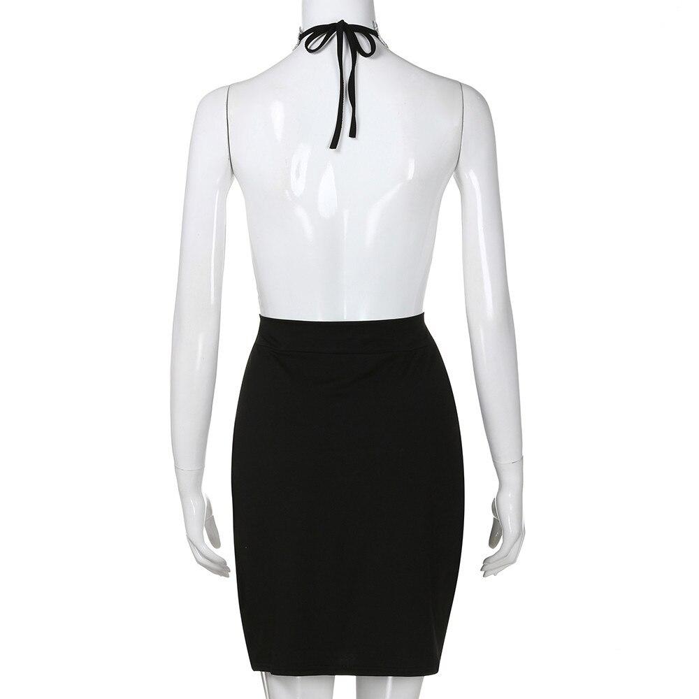 Womens Party V Neck Halter Backless Dress Sexy Deep Choker Slit Sequin Bodycon Mini Dress Sleeveless