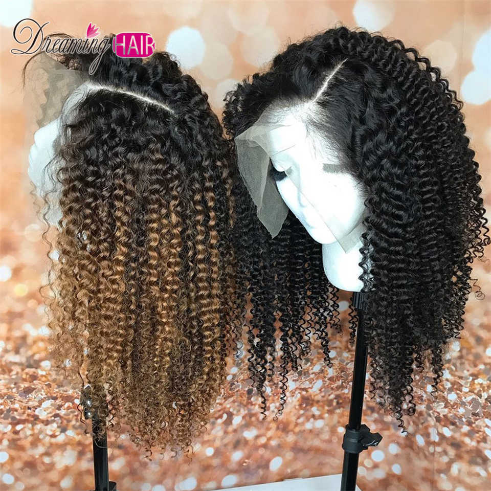 1B 30 Ombre Afro Kinky CURLY Lace ด้านหน้าวิกผมเด็กบราซิล Remy สั้น CURLY Wigs Hair มนุษย์ 13X4 4b-4c ธรรมชาติ 150%