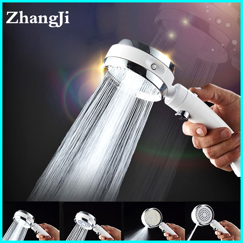 ZhangJi 4 Functions Shower Head Rotating Switch Modes With Stop Button High Pressure Water Saving Shower Handle Silicone Hole
