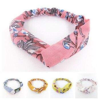 Flores Retro bohemias Cruz turbante anudado Bandage Bandanas mujeres Pelo elástico cintas para el pelo de cuerda imprimir diademas para el cabello Accesorios
