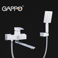 Gappo branco latão torneira da banheira com chuveiro de mão torneira do banheiro misturador torneira do chuveiro da banheira do banheiro torneira do chuveiro