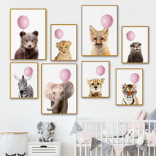 Pink Balloon Fox Elephant Lion Tiger Wall Art Canvas Painting Nordic Posters And Prints Animal Wall Pictures For Kids Room Decor lion zebra elephant cow nordic animal posters and prints wall art canvas painting decorative pictures for living room home decor