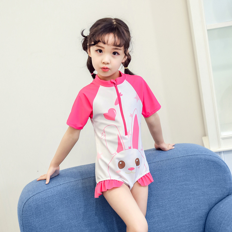 Korean-style KID'S Swimwear Girls Fashion Cute Cartoon Baby Girls Children Spa Resort One-piece CHILDREN'S Swimsuit