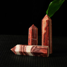 1 adet doğal çin rhodochrosit altıgen sütun kırmızı çizgi mineral kristal noktası Mineral takı ev dekorasyon DIY hediye