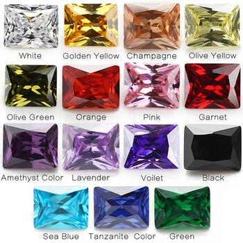 1 Pcs per Colori Totale 15 Pcs Formato 4X6 Mm ~ 10X12 Mm Rettangolo Forma Sciolto cubic Zirconia Pietra per Gioielli Fai da Te