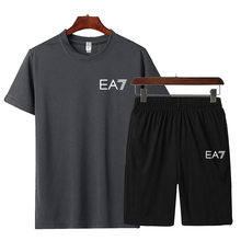 2021 Summer Mens Casual Wear Jogging suit Tracksuit Tracksuits Quick Dry Short Sleeves T shirt+pants 2 Piece Set Mens Sportswear