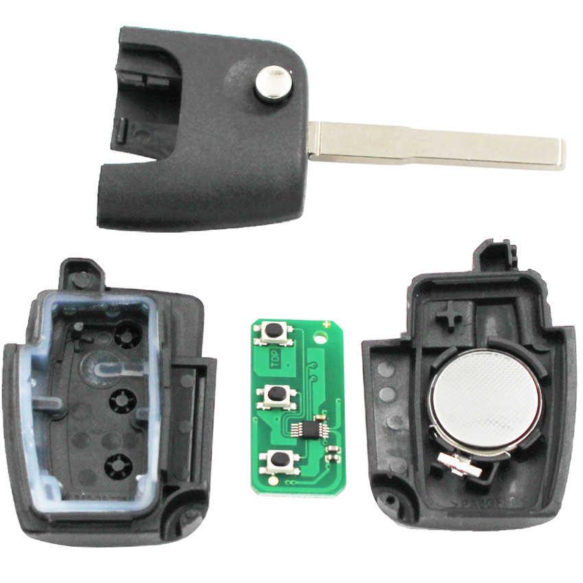 3 زر للطي الوجه البعيد مفتاح فوب 433MHZ لفورد فوكس مع رقاقة 4D63 أو بدون رقاقة HU101 شفرة