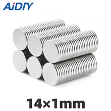 AIDIY 50Pcs 14mm X 1mm N35 Neodymium Magnet Set for Fridge Small Round Durable Mini Permanent Magnets For Multi-Use Disc14*1mm
