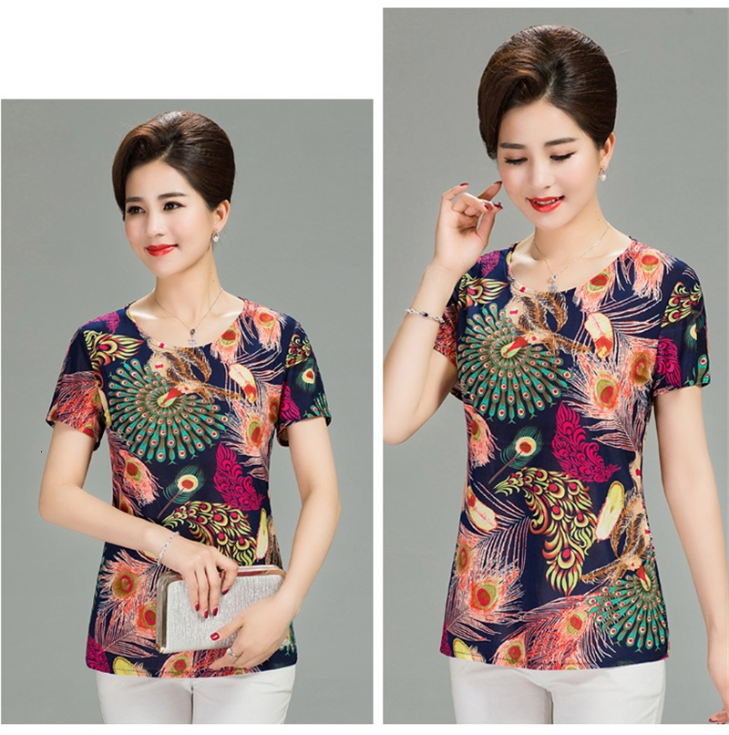Hfca8d38a46fa4142abf7629ba1bc3bd7G - Women Summer T-shirt Printed Milk Silk Short Women's T shirt Middle-aged Mother Clothes Plus size L-4XL Female Tops