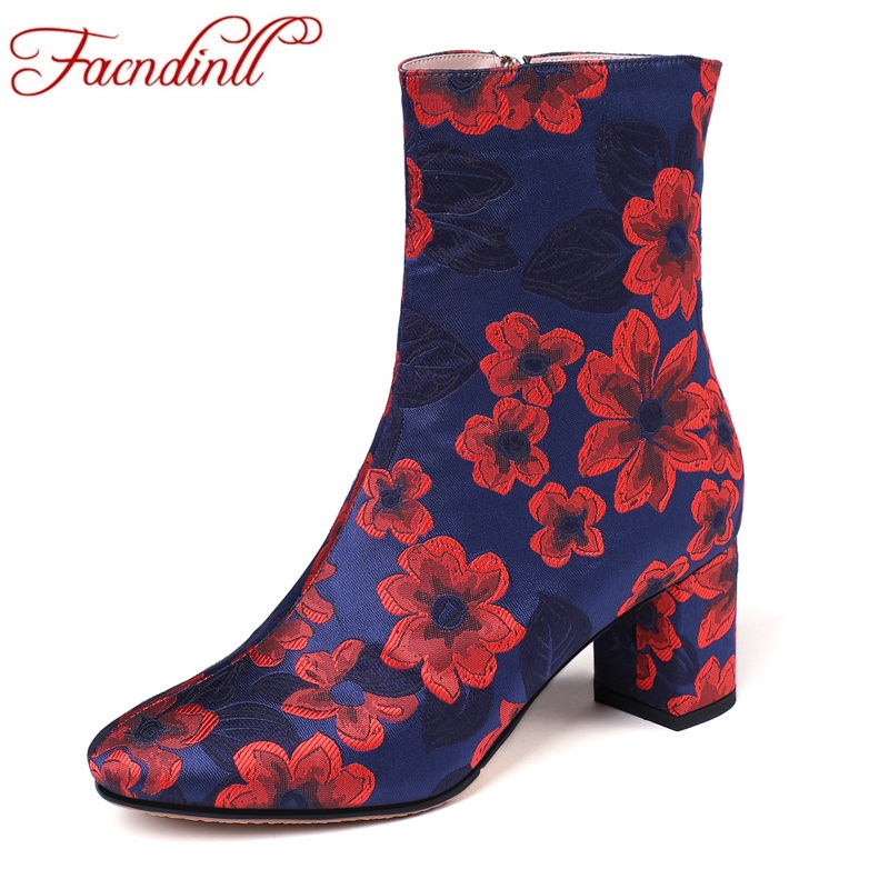 FACNDINLL 2019 new brand autumn winter women ankle boots shoes sexy high heels round toe shoes woman dress party riding boots in Ankle Boots from Shoes