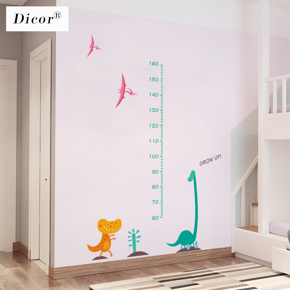 Genuine Dicor Kawaii Dinosaur Cartoon Wall Stickers For Kids Rooms Baby Zimmer Deko Height Measure Wall Decals Pvc Self Adhesive Wall Stickers Aliexpress