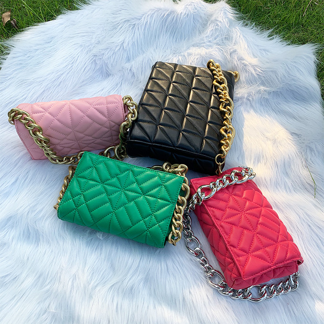 Branded Women's Shoulder Bags 2020 Thick Chain Quilted Shoulder Purses And Handbag Women Clutch Bags Ladies Hand Bag 2